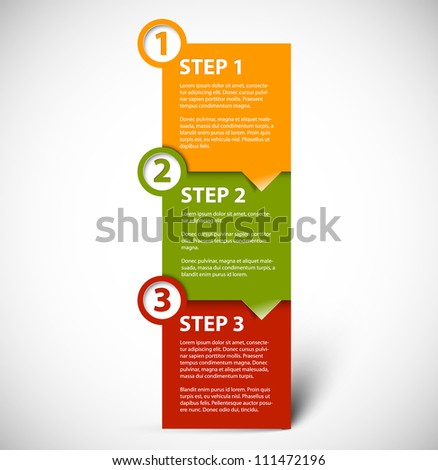 One two three vector paper progress steps for tutorial