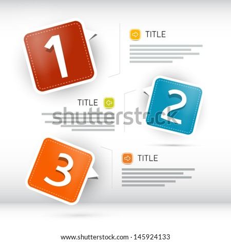 One two three vector paper progress steps for tutorial infographics