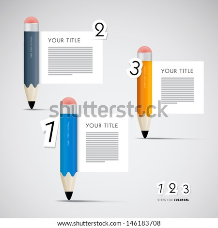 One two three vector paper progress steps for tutorial with pencils infographics