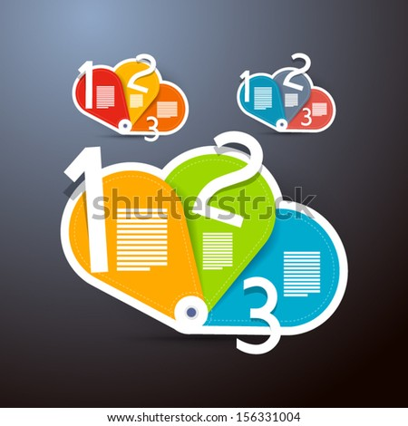 One, Two, Three, Vector Steps for Tutorial, Infographics, Three Sets