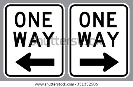 One Way Sign . Vector illustration