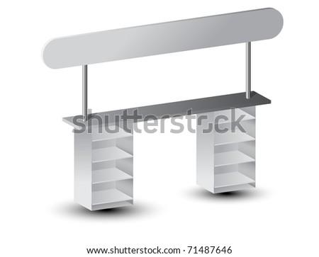 One white display. Vector illustration.