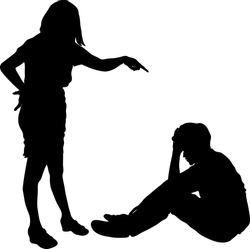 One woman or mother and teenager man dispute conflict in silhouette indoors isolated on white background, Couple relationship difficulty