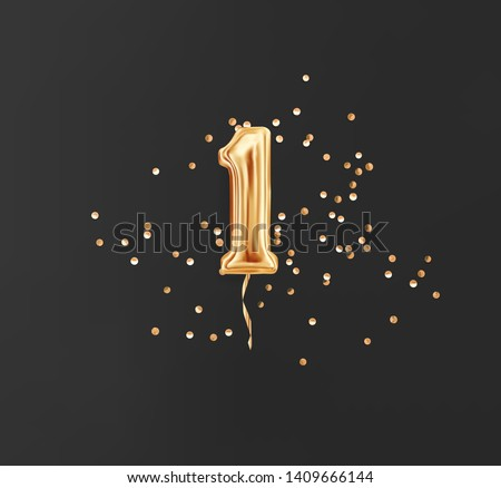 One year birthday. Number 1 flying foil balloon and gold confetti on black. One-year anniversary background.