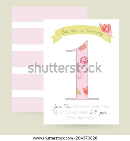 One Year Old Birthday Invitation. 1st Birthday Invitation. Cute Girly Birthday Party Invitation Vector