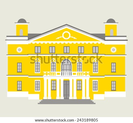 One yellow two-story house with columns classical architecture