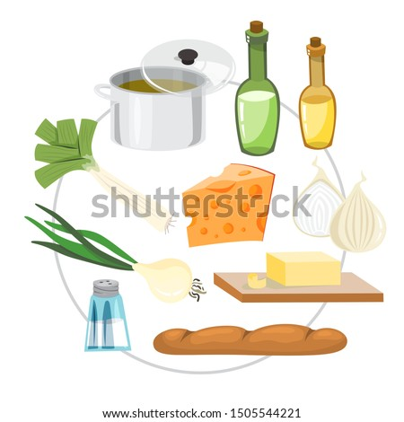 Onion soup ingredients. Cooking delicious dinner at home. Healthy food ingredient. Isolated vector illustration in cartoon style