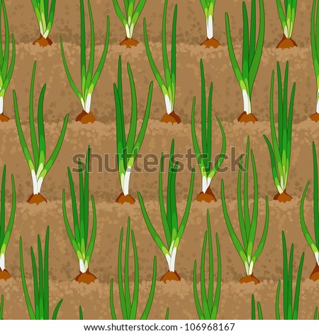 onion sprout, shoot vegetable patches in row seamless background