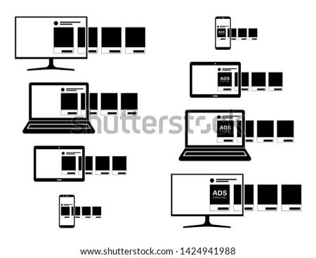 Online ad. Black vector icon