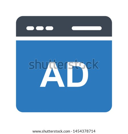online ad glyph colour vector icon