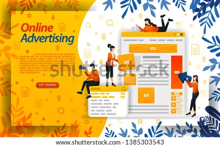 online ads. advertising on search engines. ad placement and PPC (pay per click), concept ilustration. can use for landing page, template, ui, web, mobile app, poster, banner, flyer, document, website