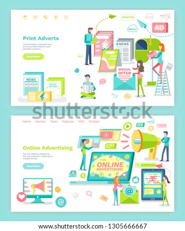 Online advertising and print adverts vector. Megaphone and internet, newspaper and magazine. Website or webpage template, landing page flat style