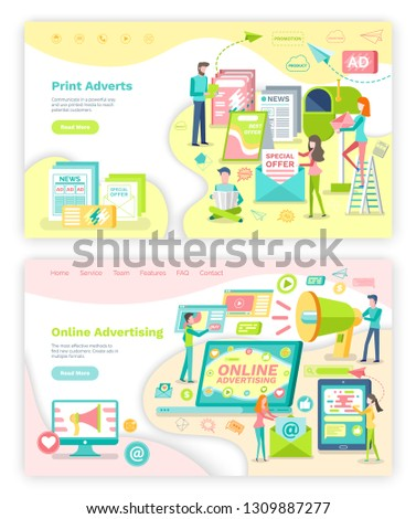 Online advertising and print adverts webpage or site template vector. Newspaper and newsletter, internet and electronic devices landing page flat style