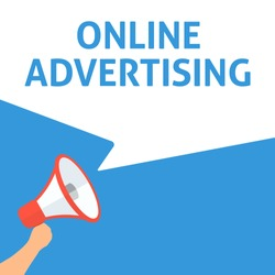 ONLINE ADVERTISING Announcement. Hand Holding Megaphone With Speech Bubble. Flat Illustration