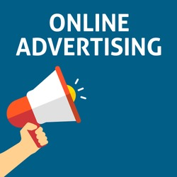 ONLINE ADVERTISING Announcement. Hand Holding Megaphone With Speech Bubble. Flat Vector Illustration
