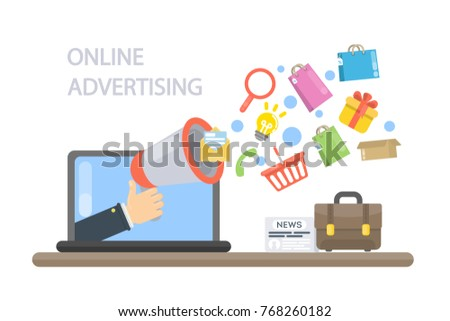 Online advertising concept. Megaphone with marketing items.