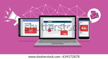 online advertising in laptop...