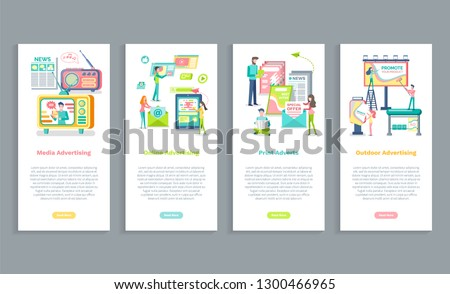 Online advertising, print and media adverts, outdoors advertisement vector. Web pages with text, promotion marketing of product, broadcasting in internet