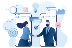 Online agreement concept background. Handshake after successful negotiations. Businesspeople on smartphones screen. Male and female characters and elements in trendy style. Vector