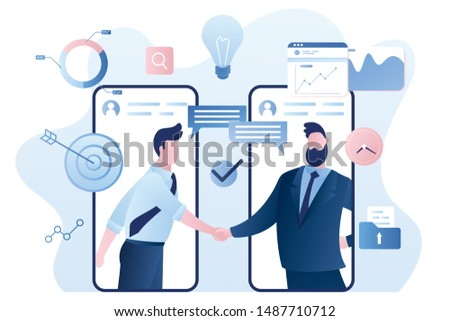 Online agreement concept background. Handshake after successful negotiations. Businesspeople on smartphones screen. Male characters and elements in trendy style. Vector illustration