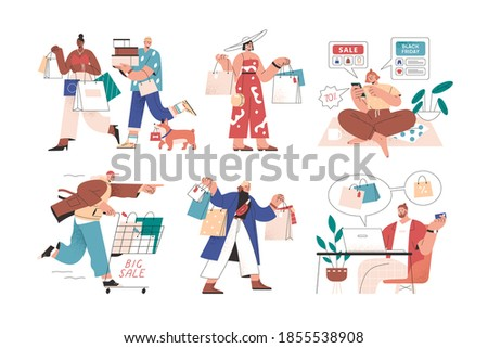 Online and offline shopping by male and female buyers. Set of people with bags, carts, smartphone and laptop during big sale or black friday. Flat vector illustration isolated on white background