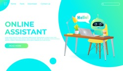Online assistant bot landing page template. Technical support design  for web page. Virtual help website. Chatbot sit on the table and say Hello. Vector cartoon illustration