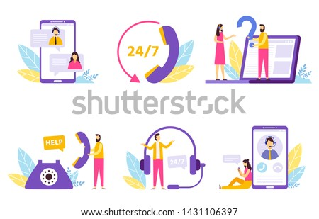 Online assistant. Virtual technical support service, personal assist and hotline operator communication. Network it client helping customer or technical consult. Isolated vector illustration icons set