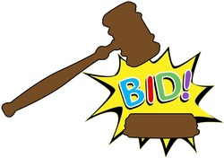 Online auction bid gavel hits stand to end sale in cartoon style icon
