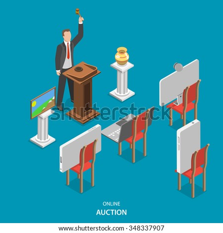 Online auction isometric flat vector concept. Auctioneer conducts an auction, announcing the lots and controlling the bidding. Instead of buyers on the chairs are smart phones, laptop and pc monitor.