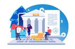 Online bank agreement. Loan contract, online bill payment vector concept with tiny people, bank building, credit card and money. Illustration of e-banking payment, online banking