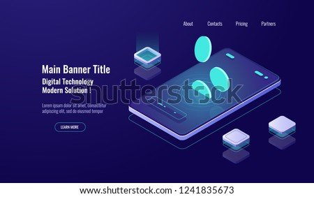 Online bank banking concept, mobile phone with falling coin, payment online, finance management dark neon concept