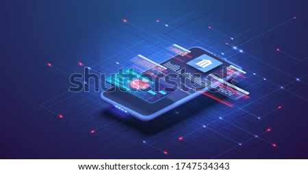 Online banking app landing page. Smart wallet concept with credit, debit card payment application. Gadget of the future, smartphone tech payment. Flat Isometric vector illustration. E-payment screen