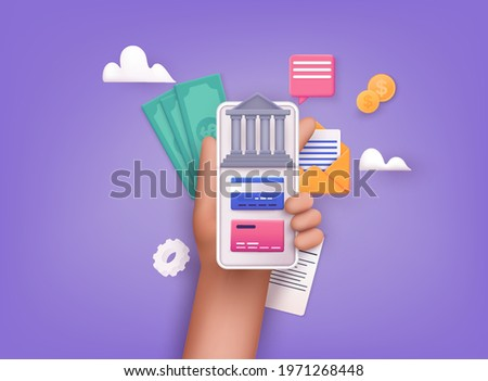 Online banking app on a mobile phone screen. nternet banking, purchasing and transaction, electronic funds transfers and bank wire transfer. 3D Vector Illustrations.