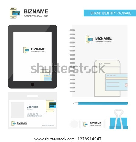 Online banking Business Logo, Tab App, Diary PVC Employee Card and USB Brand Stationary Package Design Vector Template #1278914947