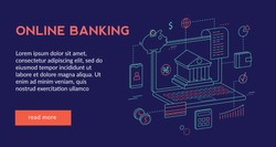 Online Banking Concept  for website web page, presentation, banner   . Vector illustration, Futuristic design, isometric 3d,