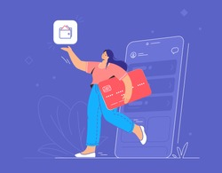 Online banking, e wallet and credit card. Flat vector illustration of smiling woman going out of a smartphone with red credit card and pointing to wallet mobile app for accounting and investments