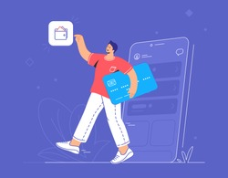 Online banking, ewallet and credit card. Flat vector illustration of smiling man going out of a smartphone with blue credit card and pionting to wallet mobile app for accounting and investments