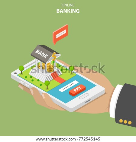 Online banking flat isometric vector concept. Hand is holding a smartphone with a bank building on it. The user is performing a secure payment by entering a security code.