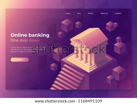 Online banking landing page concept. Isometric illustration of bank on geometric background. 3d vector illustration. Concept for internet banking and online payments. Eps10 vector