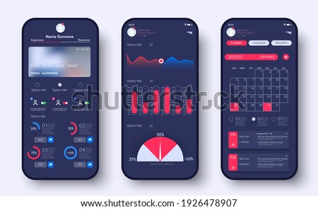 Online Banking Mobile Apps UI, UX, GUI. Analytic smartphone application with investment and stock, financial statistics. Mobile banking interface vector template. Statistics graphs and finance charts