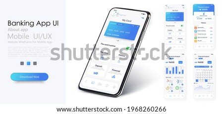 Online Banking Mobile Apps UI, UX, GUI set with wallet, shopping, my Account, fund Transfer, bill payment, products details. Mobile banking interface vector template. Online payment. E-payment screen