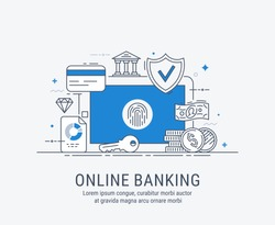 Online banking, security payments, transactions, investments and deposits, advanced information technology. Modern thin line vector illustration.