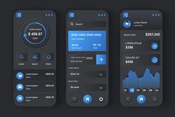 Online banking unique design kit. Financial management app, transfer funds, pay bills, deposit checks. Financial invest and manage UI, UX template set. GUI for responsive mobile application