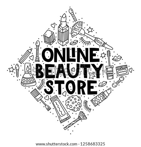 Online beauty store. Concept doodle illustration with lettering #1258683325
