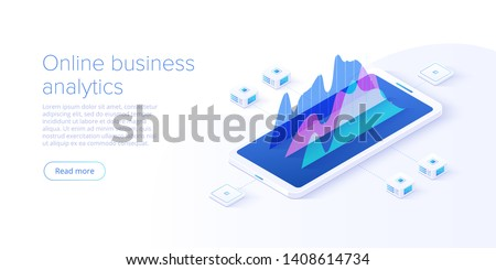 Online business analysis strategy isometric vector illustration. Data analytics for company marketing solutions or financial performance. Budget accounting or statistics concept.