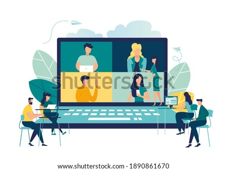 Online business conference, creative illustrations, businessmen, online joint meeting, team thinking and brainstorming, company information analytics vector, vector illustration