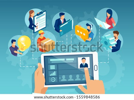 Online business management concept. Vector of a leader businessman holding a tablet showing analytics and managing team of employees on a conference video call
