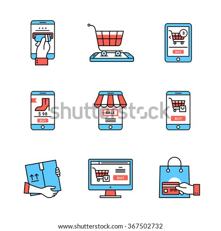 Online business. Mobile store and shopping business metaphors. Flat style icons. Thin line art illustrations isolated on white.