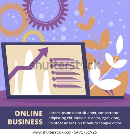 Online Business Square Banner, Laptop with Growing Graphs on Screen Stand on Office Table with Abstract Floral Pattern and Cogwheels Around. Internet Technologies Cartoon Flat Vector Illustration