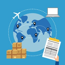 Online business trading with express international shipping concept vector illustration. Computer, airplane, package and document in flat design.